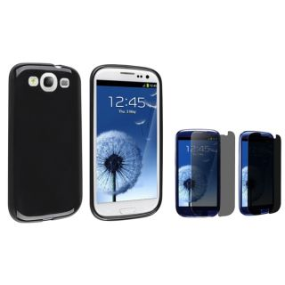 INSTEN Black TPU Phone Case Cover/ Privacy LCD Protector for Samsung