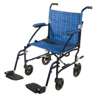 Drive Medical Fly Lite Aluminum Transport Chair   Blue