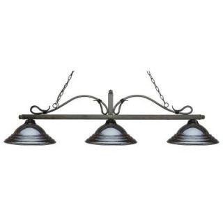 Filament Design Porter 3 Light Golden Bronze Island Light with Gun Metal Shades CLI JB051988