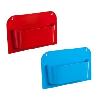 Southern Enterprises Lilah 15 in. x 10 in. Metal Wall Mount Storage in Red and Blue (Set of 2) HD051253