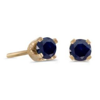 14k Petite Yellow Gold Round Genuine Sapphire Stud Earrings