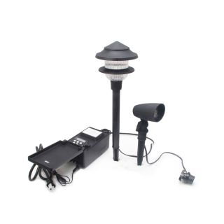 Duracell 4 Path Light Black Low Voltage 4 Watt (20W Equivalent) LED Path Light Kit Includes 2 Flood Lights