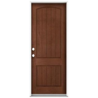 JELD WEN 36 in. x 96 in. Architectural 2 Panel Arch Top Plank Stained Mahogany Fiberglass Front Door Slab THDJW215600077