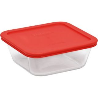 Pyrex Storage Plus 4 Cup Square Glass Food Storage with Red Plastic Cover