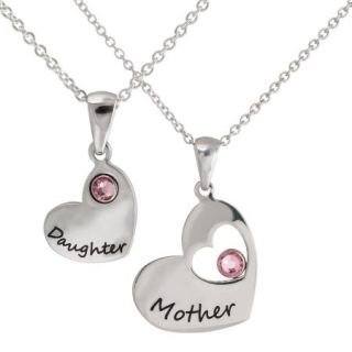 "Connections from Hallmark Pink Crystals Stainless Steel ""Mother"" and ""Daughter"" Pendant Set, 18"""