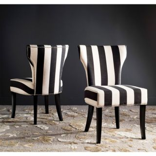Safavieh En Vogue Dining Matty Black and White Striped Side Chairs