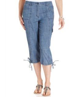 Karen Scott Chambray Straight Leg Capri Jeans, Chambray Wash