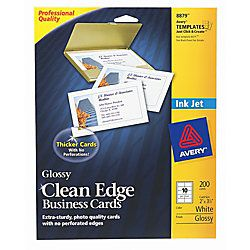 Avery Inkjet Clean Edge Business Cards 2 x 3 12  White Gloss Pack Of 200