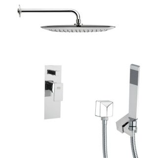 Remer by Nameeks SFH6057 Orsino 13 7 9 Square Shower Faucet in Chrome with Handheld Shower and 6 H Diverter
