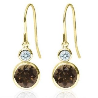 1.82 Ct Brown 14K Yellow Gold Earrings Made With Swarovski Zirconia