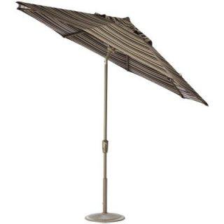 Home Decorators Collection 7.5 ft. Auto Tilt Patio Umbrella in Espresso Stripe Sunbrella with Champagne Frame 1548820880