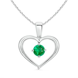 Bail Round Emerald Solitaire Pendant with Diamond in 14K White Gold