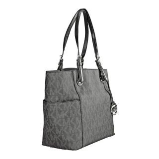 Michael Kors Jet Set Signature Black PVC Logo Tote