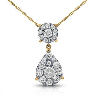 "Diamond Couture 14K Gold 1ctw Diamond Round and Pear Pendant with 18"" Chain   8003817"