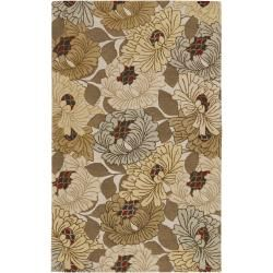 Hand Tufted Wishaw Ivory/Multi Colored Transitional Floral New Zealand