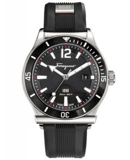 Ferragamo Mens Swiss 1898 Black Rubber Strap Watch 43mm FF3100014