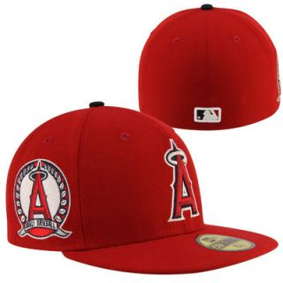 New Era Los Angeles Angels of Anaheim Patched Team 59FIFTY Fitted Hat   Red