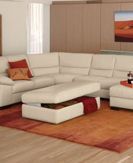 Spencer Leather Sectional Living Room Furniture Collection   Furniture