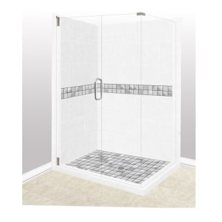 American Bath Factory Excalibur Light with Excalibur Stainless Brushed Steel Tiles Sistine Stone Wall Stone Composite Floor Rectangle 10 Piece Corner Shower Kit (Actual: 80 in x 32 in x 36 in)