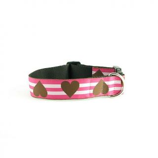 Isabella Cane Wide Hearts Brown and Pink Collar   Medium   7233414