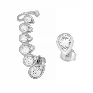 Sterling Essentials Rhodium Plated Silver Teardrop Single Ear Cuff