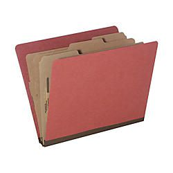 Pressboard Classification Folder Letter Size 8 Section 30percent Recycled Earth Red Pack of 10 AbilityOne 7530 01 572 6208
