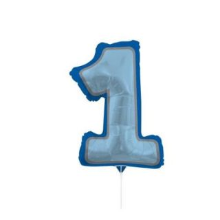 """Pack of 10 Metallic 1st Birthday Number One Blue Foil Party Balloons with Sticks 30"""""""