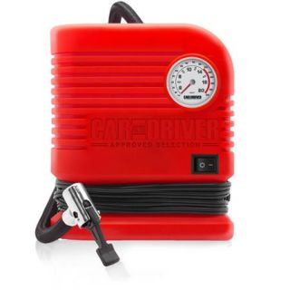 Car and Driver 300 PSI Portable Air Compressor Built in Pressure Gauge, Heavy Duty Motor 12 volt Vehicle Adapter, Red