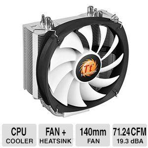 THERMALTAKE Frio Silent 14 140mm CPU Cooler    4 Pin PWM Connector, Heatsink: Aluminum Fins Copper Heatpipes, 19.3 dBA, 165 W   CL P002 AL14BL B