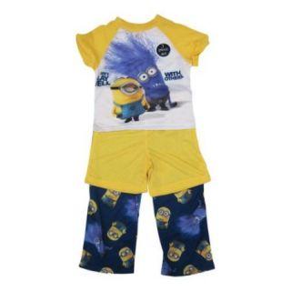Minions Little Boys Yellow Navy Cartoon Pants Shorts Shirt 3 Pc Pajama Set 4 6