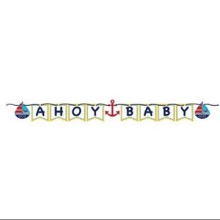 """Pack of 6 Ahoy Matey Navy Blue and School Bus Yellow """"Ahoy Baby"""" Shower Ribbon Party Banners"""