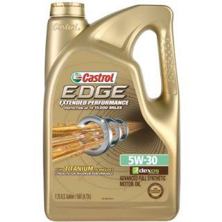 Castrol EDGE Extended Performance 5W 30 Full Synthetic Motor Oil, 5 qt.