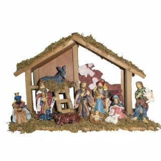 Kurt Adler 15 inch Wooden Stable with 10 piece Resin Figures Nativity