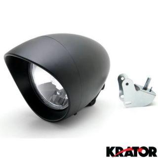 Krator® Motorcycle Custom Black Headlight Head Light For Honda VT Shadow Spirit Velorex Deluxe 600 750 1100
