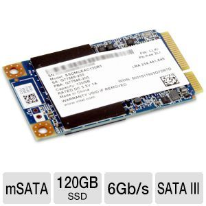 Intel SSD 525 Series 120GB SSD   mSATA, SATA III 6Gb/s, Up To 550MB/s Read Speed, Up To 500 MB/s Write Speed    SSDMCEAC120B301