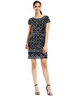Adrianna Papell Petite Short Sleeve Beaded Sheath   Dresses   Women