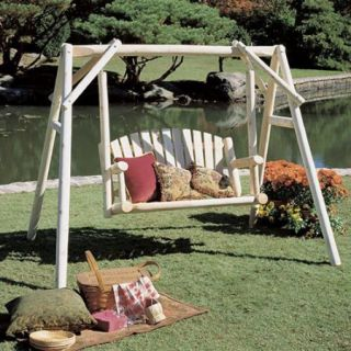 Rustic Natural Cedar Furniture American Garden 5 ft. Log Porch Swing and Stand Set