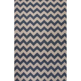 Flat Weave Geometric Pattern Blue/ Ivory Wool Area Rug (9 x 12