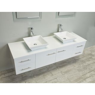 Eviva Totti Wave 72 Inch White Modern Double Sink Bathroom Vanity with
