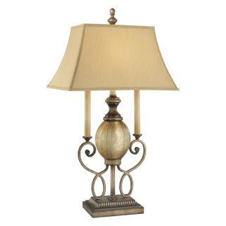 Minka Lavery 4140 3 573 La Cecilia 1 Light Accent Lamp in Patina Iron with Fabric Shade