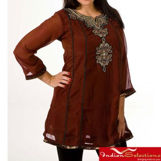 Womens Georgette Brown with Golden Embroidery Kurti/ Tunic (India)