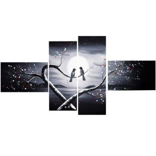 Design Art Love Birds in Love 60 x 32 inch 4 panel Canvas Art Print