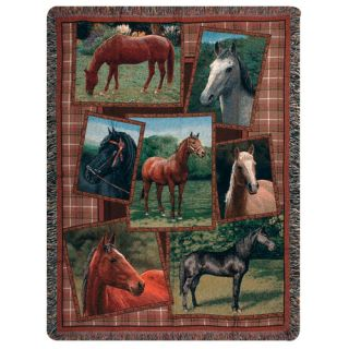 Horsing Around Tapestry Cotton Throw by Manual Woodworkers & Weavers