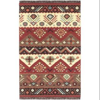 9' x 13' Happy Desert Fire Brick Red Tan and Brown Hand Woven Wool Area Throw Rug