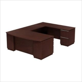 Bow Front Desk Right Hand U Station in Harvest Cherry Finish
