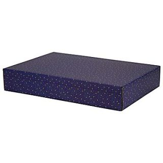 12.2(L)x 3(W)x17.8(H) GPP Gift Shipping Box, Holiday Line, Gold Stars on Blue, 6/Pack
