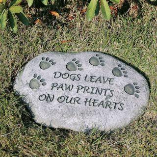 Evergreen Enterprises Dogs Leave Paw Prints On Our Hearts Pet Memorial Stone   Garden & Memorial Stones