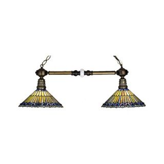 Tiffany Jeweled Peacock 2 Light Billiard Light by Meyda Tiffany