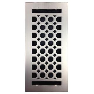 Accord Select Charlotte Satin Nickel Steel Floor Register (Rough Opening: 10 in x 6 in; Actual: 11.42 in x 7.37 in)