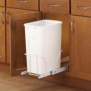 Knape & Vogt 19 in. H x 9 in. W x 20 in. D Steel In Cabinet 35 Qt. Single White Pull Out Trash Can in White PSW10 1 35 R W